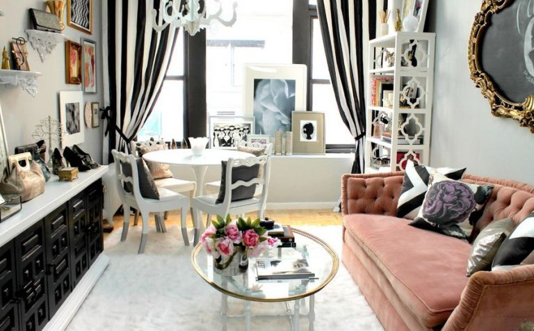 black-and-white-striped-curtains-feminine-touch