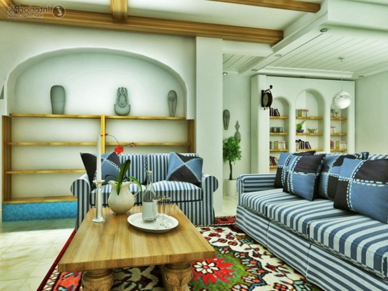 elegant-pattern-living-room-furniture_blue-striped-fabric-arms-sofa-sets_colorful-shag-wool-rug_light-brown-varnished-wood-table_black-blue-fabric-cushion