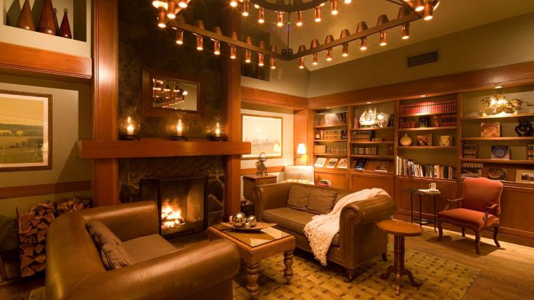 library-fireplace-living-room-golden