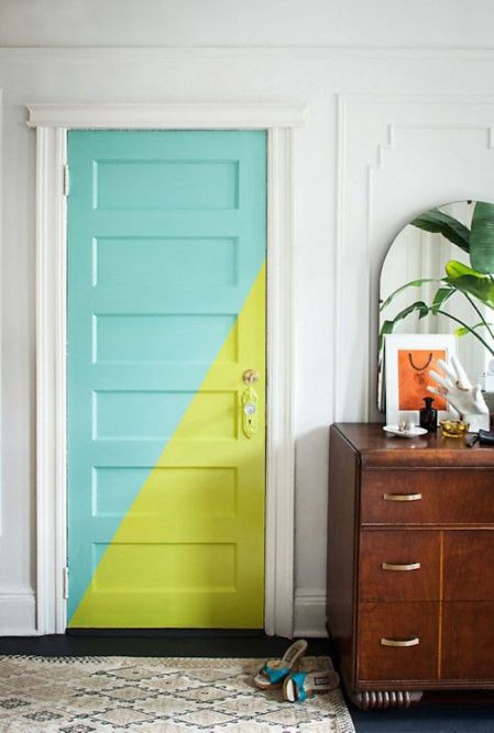 gorgeous-door-color-blocking-with-teal-and-bright-green-paint