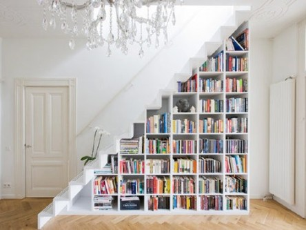 Book-nook-under-white-stairs