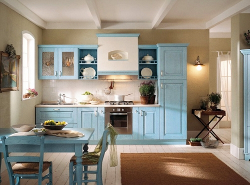 Kitchen-design-in-traditional-style-with-blue-cabinets