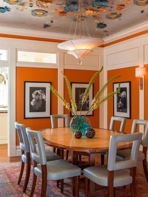 Lovely-blend-of-blue-and-orange-in-this-vibrant-dining-room