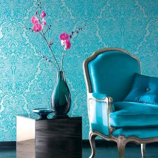Aqua-blue-interiors-with-blue-metallic-wallpaper-for-interior-design.jpg