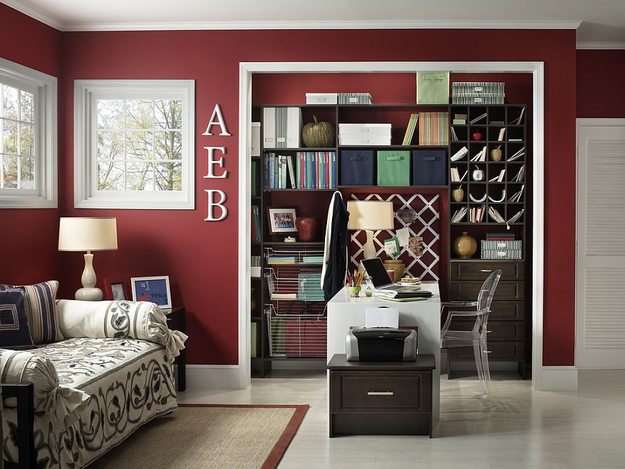 Sparkling-contemporary-home-office-with-white-trims-and-maroon-walls.jpg